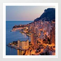 Monaco Evening Glow Art Print