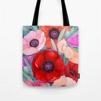 Poppy and Olive Watercolor  Tote Bag