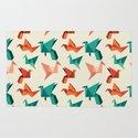 teal paper cranes Rug