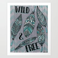 Wild & Free Feathers. Teal & Grey Edition Art Print