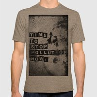TIME to stop pollution now Mens Fitted Tee Tri-Coffee SMALL