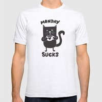 MONDAY SUX Mens Fitted Tee Ash Grey SMALL