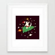 Space Christmas Framed Art Print