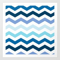 blue chevron Art Print