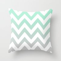 MINT GRAY CHEVRON FADE Throw Pillow