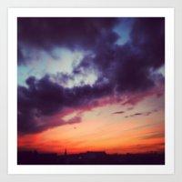 Burning Berlin Sky Art Print