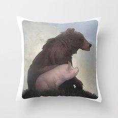 Bear and Pig Throw Pillow