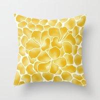 Hibiscus Animal: Yellow Tonal Throw Pillow