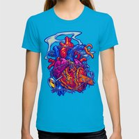 BUSTED HEART Womens Fitted Tee Teal SMALL