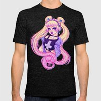 Pastel Goth Usagi (Glasses OFF) Mens Fitted Tee Tri-Black SMALL