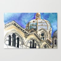 Marseille Cathedral Sket… Canvas Print