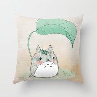 Floral Totoro Throw Pillow
