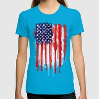 American Spatter Flag Womens Fitted Tee Teal SMALL