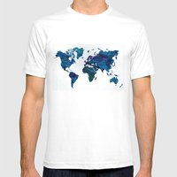 World Map in Blue and Green Mens Fitted Tee White SMALL