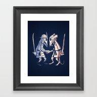 Framed Art Print featuring Sensei Vs Sensei by Fanboy30