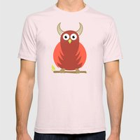 Red Cartoon Horned Owl Mens Fitted Tee Light Pink SMALL