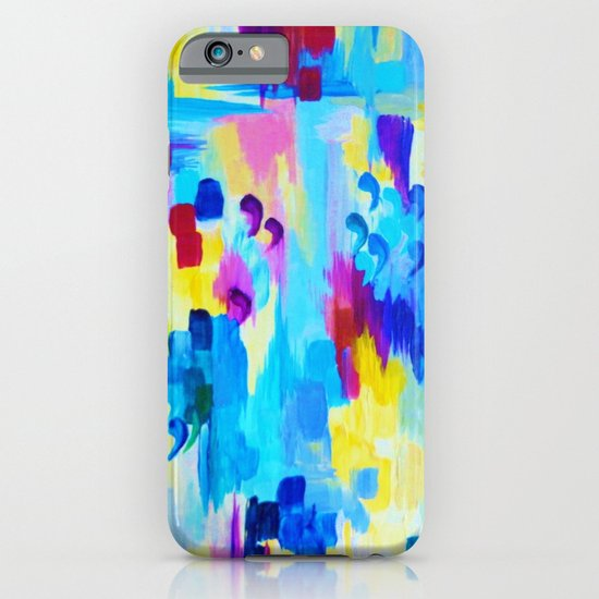 DONT QUOTE ME, Revisited - Bold Colorful Blue Pink Abstract Acrylic Painting Gift Art Home Decor  iPhone & iPod Case