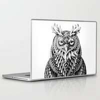 owl Laptop & iPad Skins featuring Great Horned Owl by BIOWORKZ