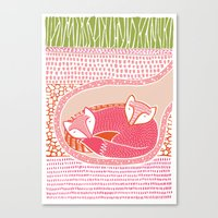 Sleepy Happy Foxes Canvas Print