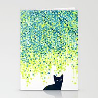 Cat In The Garden Under … Stationery Cards