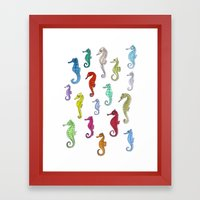 Seahorses Under The Colo… Framed Art Print