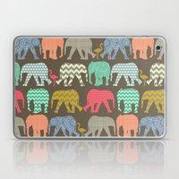 baby elephants and flamingos dark linen Laptop & iPad Skin