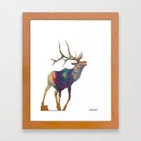 Elk Silhouette Framed Art Print