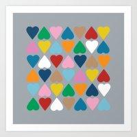 Diamond Hearts On Grey Art Print