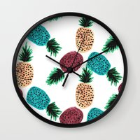 Weird Pineapples Wall Clock