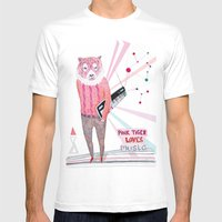 Pink Tiger Mens Fitted Tee White SMALL