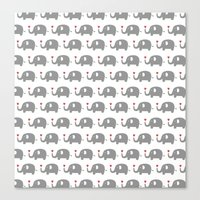 Elephants in love (white) Canvas Print