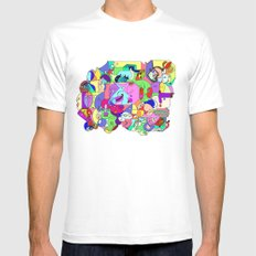 Can you spot the faces? SMALL White Mens Fitted Tee