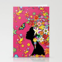 Hummingbird Kiss on Floral Girl  Stationery Cards