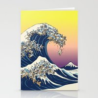 The Great Wave Of  Cat Stationery Cards