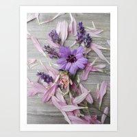 Floral Still life, grey, pink, lavendar Art Print
