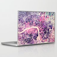 Laptop & iPad Skin featuring London Mosaic Map #2 by Map Map Maps
