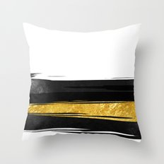 Gold and Black Stripes Throw Pillow