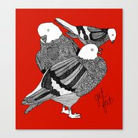 Red Pigeons Get Fat Canvas Print