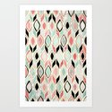Patchwork Pattern in Coral, Mint, Black & White Art Print
