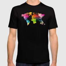Geo World Map Mens Fitted Tee Black SMALL