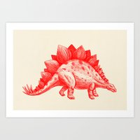 Red Stegosaurus  Art Print