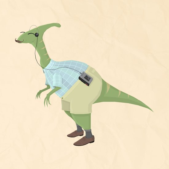 Hipster Dinosaur jams to some indie tunes on his walkman Art Print