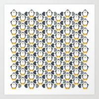 NGWINI - penguin love pattern 4 Art Print