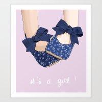 It's a girl ! Greeting birth card Art Print