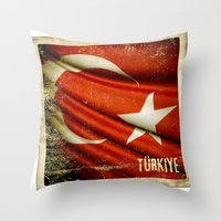 Grunge Sticker Of Turkey… Throw Pillow