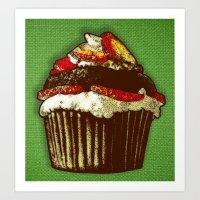 strawberry cake Art Print