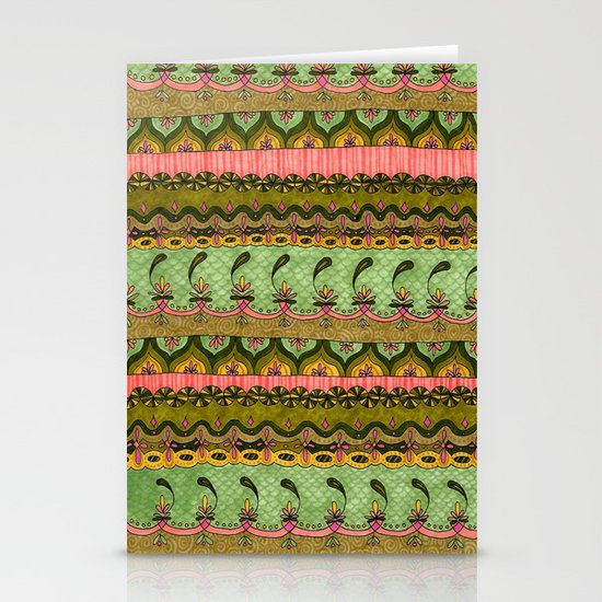 Pink and Green Pattern Stationery Card