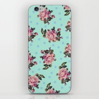 Pink Roses On Blue iPhone & iPod Skin
