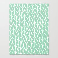 Hand Knitted Mint Canvas Print