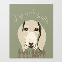 dog with bowtie Canvas Print